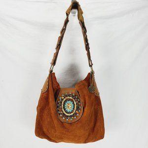 LeatheRock Suede Embellished Boho Shoulder Bag